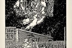 El árbol y el fuego, de la serie Relectura de la Biblia, 1988, collage, Juicio Final de Volgemut, 1493, aguafuerte, con la muerte de uno de los jefes hugonotes, Anne de Bourg, condenado por la Inquisición en 1559 en París, Ediçoes Exú