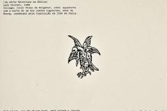 El árbol y el fuego, de la serie Relectura de la Biblia, 1988, collage, Juicio Final de Volgemut, 1493, aguafuerte con la muerte de uno de los jefes hugonotes, Anne de Bourg, condenado por la Inquisición en 1559 en París.  Ediçoes Exú