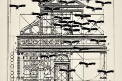 Iglesia con buitres, 1985, collage, Ediçoes Exú