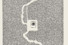 """""""La chica del bosque"""", de la serie """"Homens"""", 12/4/1980  Collage con Letraset LT183 sobre papel  47,8 x 32,5 cm  Colección Familia Ferrari"""