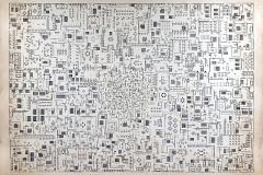 """""""Plano"""", de la serie """"Homens"""", 1981  Collage, letraset y tinta sobre papel  51,7 x 34,7 cm  Colección Familia Ferrari"""