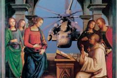 """Sin título, de la serie """"Releitura de la Biblia"""", Noviembre 1986  Collage sobre papel  25 x 24 cm  Colección Familia Ferrari"""
