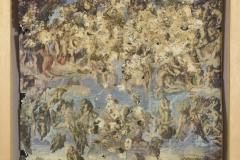 """""""Juicio Final"""", 1985  Lámina del """"Juicio Final"""" de Miguel Ángel con excrementos de aves  46 x 33 cm  Colección familia Ferrari"""
